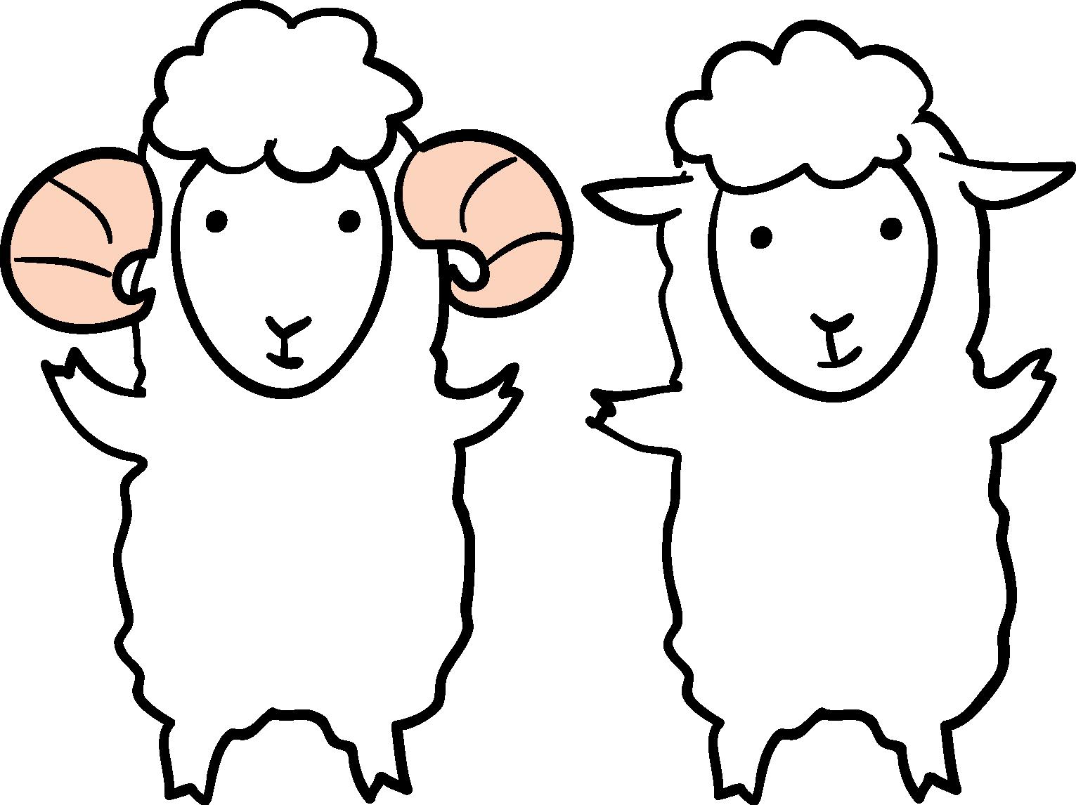 年賀状イラスト素材 未 ひつじ 仲良し羊ダウンロード