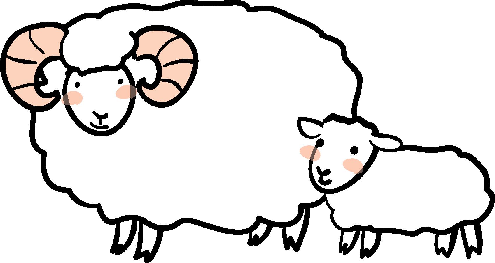 年賀素材館 年賀状イラスト素材 未 ひつじ 羊の親子ダウンロード