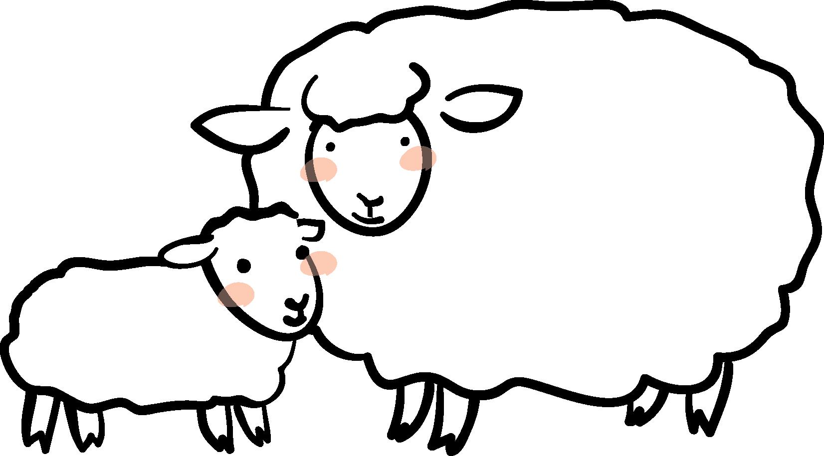 年賀素材館 年賀状イラスト素材 未 ひつじ 羊の親子2ダウンロード