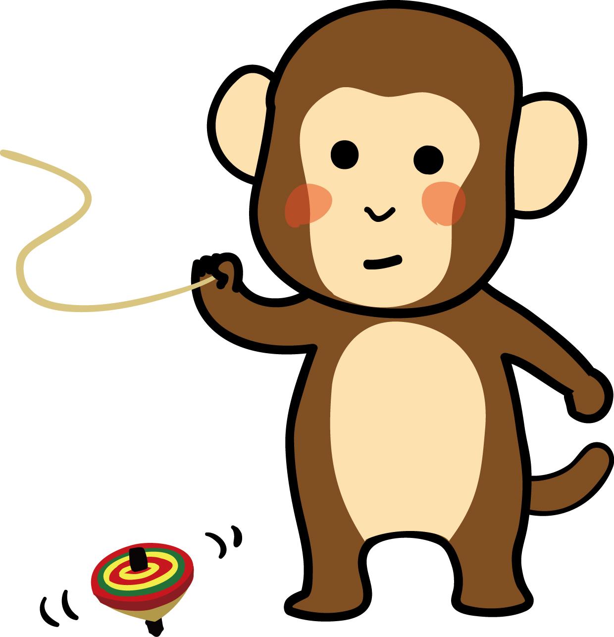 年賀状イラスト素材「申(さる)」お猿の駒まわしダウンロード