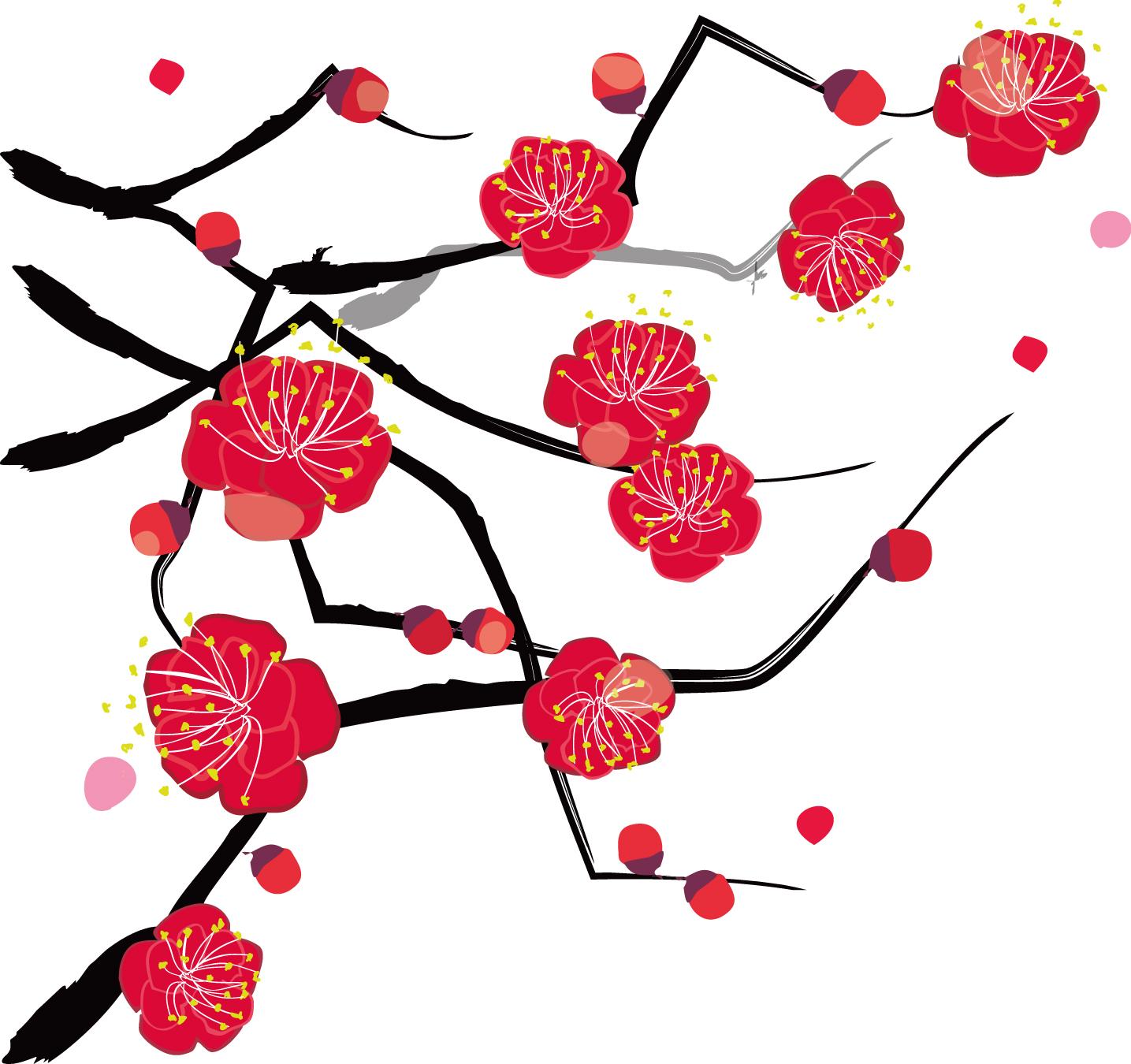 年賀状イラスト素材「梅」艶やかな梅ダウンロード|かわいい無料イラスト