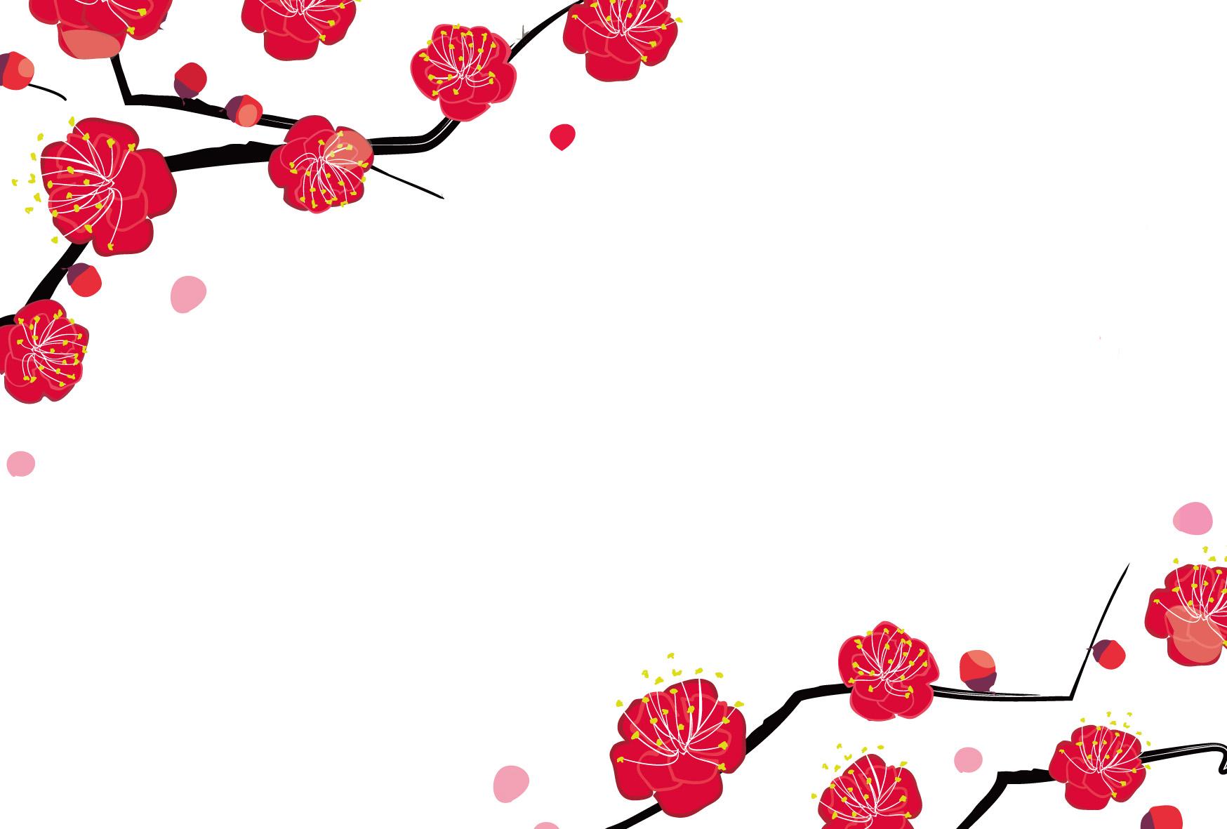 年賀状テンプレート「梅」艶やかな梅のフレームダウンロード|かわいい
