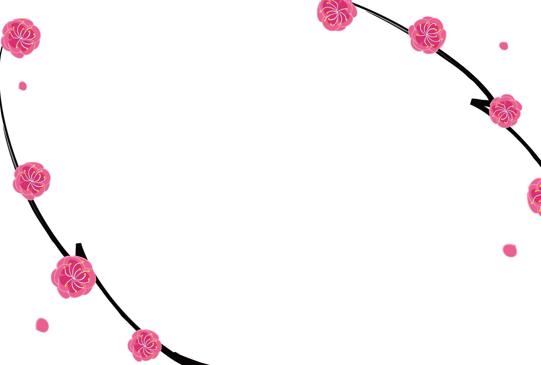 年賀状テンプレート「梅」ピンクの梅のフレームダウンロード|かわいい