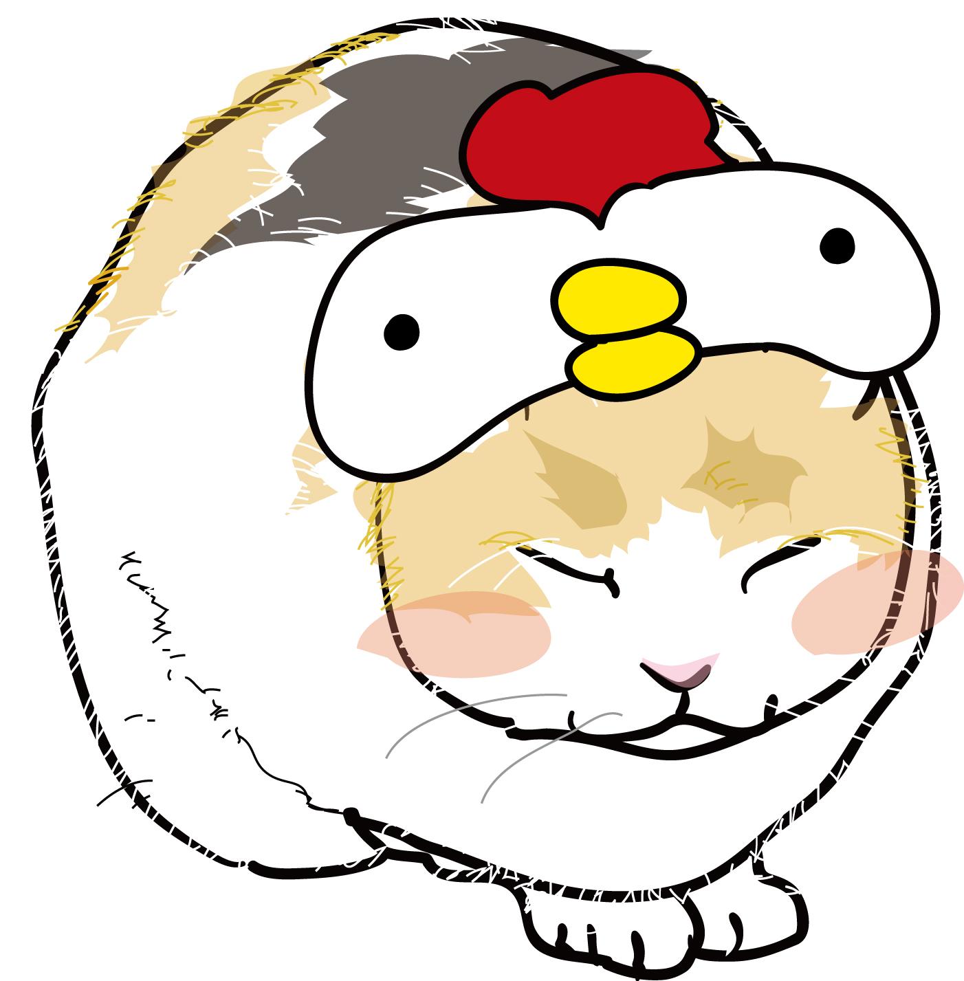 年賀状2017イラスト素材「酉(とり)」にわとり帽子の猫ダウンロード